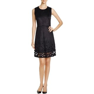 Elie Tahari Womens Ophelia Wear to Work Dress Faux-Suede Laser-Cut