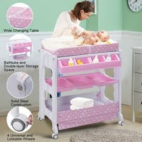 Costway Baby Infant Bath Changing Table Diaper Station Nursery Organizer Storage w Tube - Pink