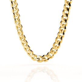 Gold Plated chain necklace 9MM Smooth Cuban Curb Link 24K Lobster Clasp
