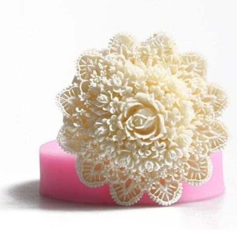 1Pcs Lace Flower Mold Cake Fondant Mould Large Baking Decoration DIY Tool - White