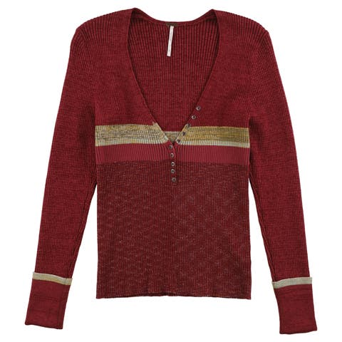 Free People Womens Frequency Henley Sweater