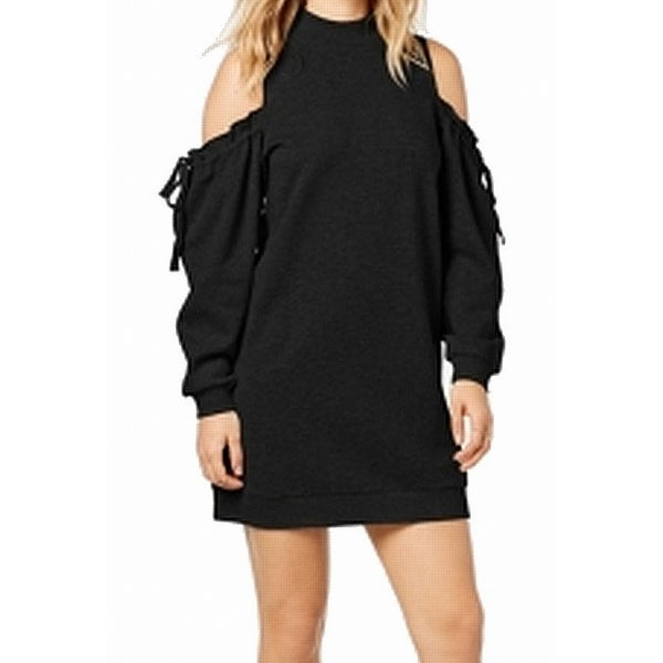 684379259b Shop Kensie Black Women s Size XS Cold-Shoulder Drawstring Sweater Dress -  Free Shipping On Orders Over  45 - Overstock - 26956454