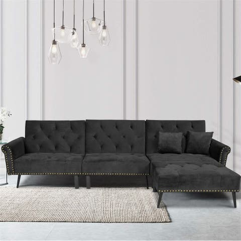 Merax Nailhead Trim Upholstered Sectional Sofa Bed
