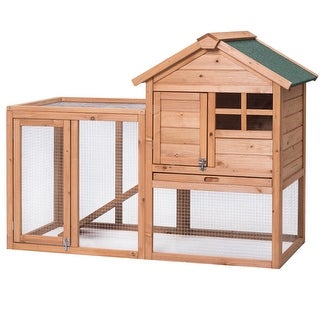 Gymax Wooden Rabbit Hutch Chicken Coop Poultry Cage Hen Duck House Pet Run Backyard
