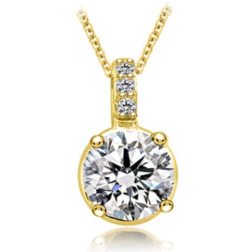 1.03 cttw. 14K Yellow Gold Round Cut Diamond 4-Prong Basket Solitaire Pendant - White H-I