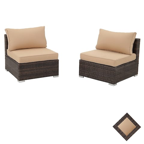 2PCS 3PCS 5PCS 7PCS Patio Rattan Outdoor Furniture Sectional Coversation Sofa Set with Cushions