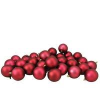 "32ct Burgundy Red Shatterproof Matte Christmas Ball Ornaments 3.25"" (80mm)"