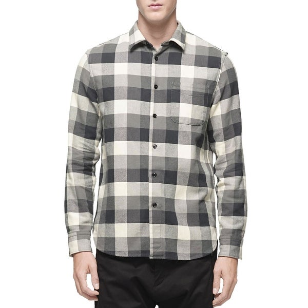 ae8e697ad2 Rag & Bone Men's Beach Button Down Check Flannel Shirt Small S Grey and  Cream