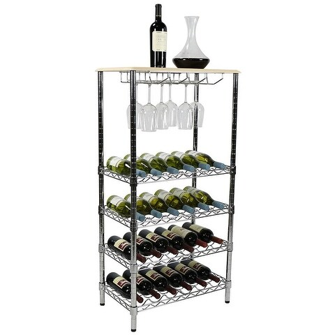 """Apollo Hardware Chrome 5-Tier Wire Wine Shelving and Top Wood with Glass Holder 14""""x24""""x48"""""""