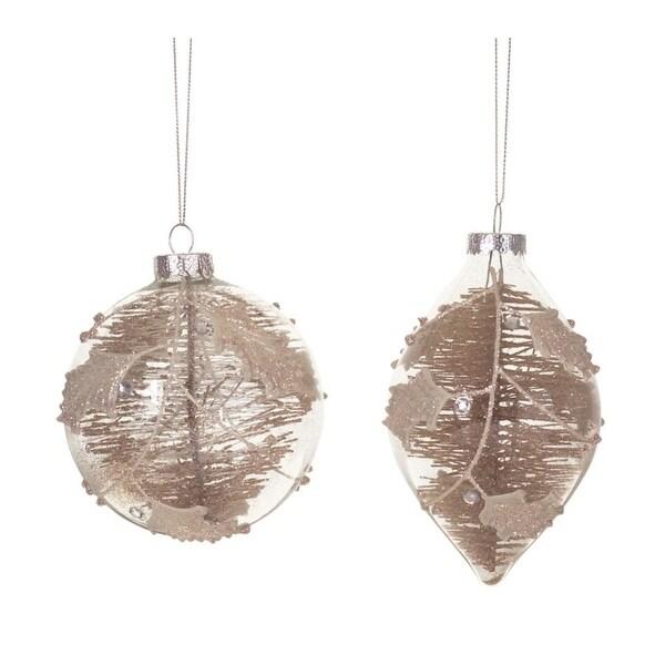 "Set of 6 Elegant Cinnamon Brown Glass Ball & Teardrop Christmas Ornaments 3.75""-9.5"""