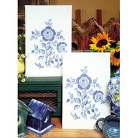 """Stamped Kitchen Towels For Embroidery 17""""X30"""" 2/Pkg-Blue Rose - Blue"""
