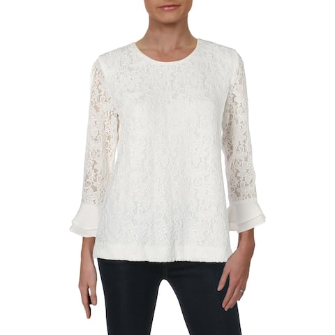 Karl Lagerfeld Womens Pullover Top Lace Trumpet Sleeves