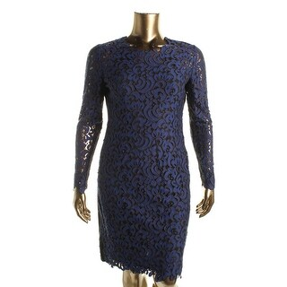 Elie Tahari Womens Bellamy Lace Long Sleeves Cocktail Dress