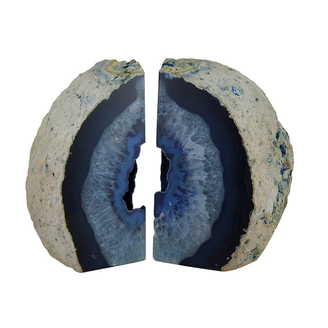 Large Polished Blue Brazilian Agate Geode Bookends 7 11 Pounds Overstock 18435854