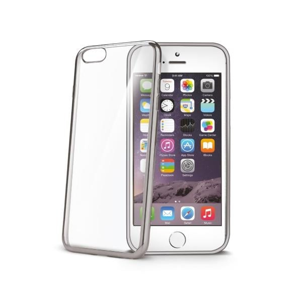 Celly's Soft Metal Effect Edging Case for iPhone 6/6S Plus - Transparent/Silver