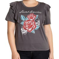 H.I.P. NEW Gray Women's Size 3X Plus Heart Breaker Rose Printed Blouse