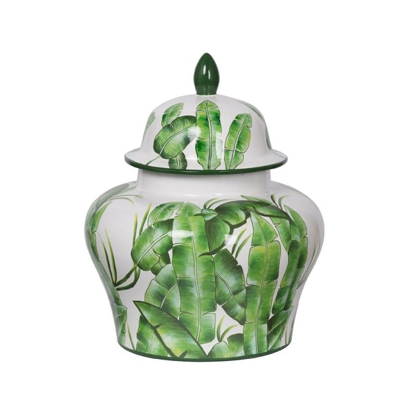 "16.75"" Green and White Contemporary Lovise Palm Lidded Wide Urn - N/A"