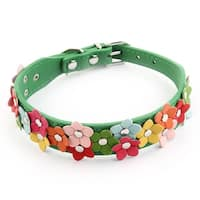 Metal Buckle Faux Leather Belt Flower Decor Puppy Dog Collar Multicolor Size M