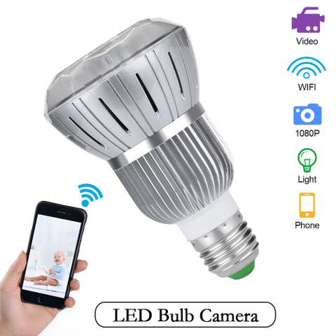 Full 1080P HD WIFI Wireless Hidden Spy IP Camera Light Bulb MotionDetection CCTV - M