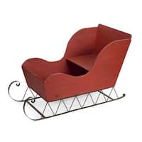 """36"""" Red and Black Distress Finished Sleigh Christmas Display Figure"""