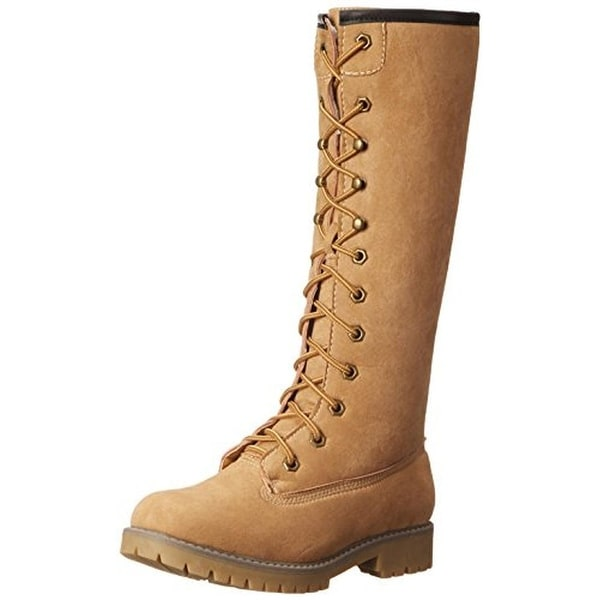 Madden Girl Womens Yumi Motorcycle Boots Knee-High Lace Up
