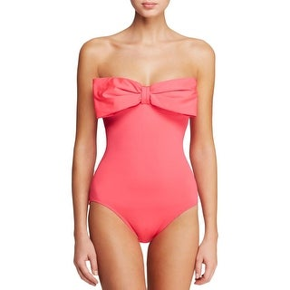 Kate Spade Womens Georgica Beach Bandeau Bow Front One-Piece Swimsuit
