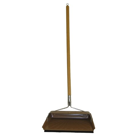 Fulton 240S-10 Steel Dustpan With Rubber Edge, Wood Handle