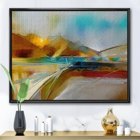 Designart 'Impressionist Mountscape With River I' Modern Framed Canvas Wall Art Print