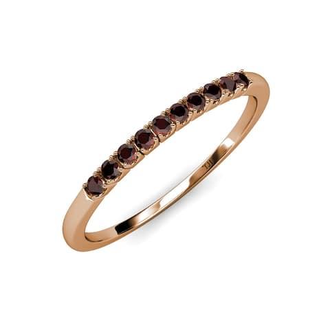 TriJewels French Set Red Garnet 3/8 ctw 10 Stone Wedding Band 14K Gold