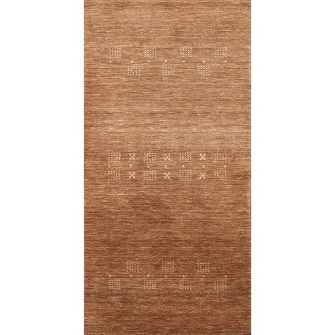 "Brown Tribal Modern Gabbeh Oriental Runner Rug Wool Hand-knotted - 2'4"" x 4'9"""