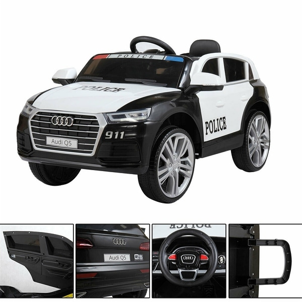 """White 12v electric children can sit in police car battery power toy - 7'6"""" x 9'6"""". Opens flyout."""