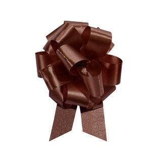 """Pack Of 50, 4"""" Solid Chocolate 100% Polypropylene Flora Satin Gift Pull Bows 18 Loops For Gift Baskets & Gift Packaging"""