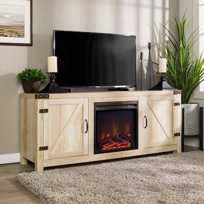 The Gray Barn Firebranch 58-inch Barn Door Fireplace TV Console