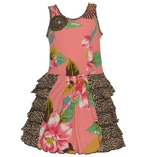 Mack & Co Little Girls Coral Brown Floral Leopard Pattern Ruffled Dress 2T-6X