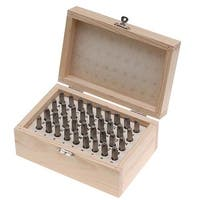 Beadsmith 36 Piece Letter & Number Punch Set For Stamping Metal 1/16 Inch 1.5mm (1 Set W/ Wood Case)