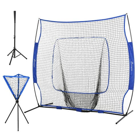 Soozier 7.5' x 7' Portable Baseball Batting Net Set with Catcher Net, 120 Ball Pitching Collector, & Tee Stand, Blue