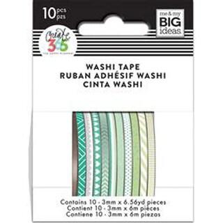 Green Hues - Happy Planner Mini Washi Tape 3Mmx6.56Yd Each 10/Pkg