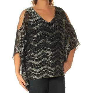 MSK $79 Womens New 1220 Silver Chevron Cold Shoulder Short Sleeve Top L B+B