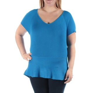 INC $70 Womens New 1362 Blue V Neck Short Sleeve Peplum Casual Sweater L B+B