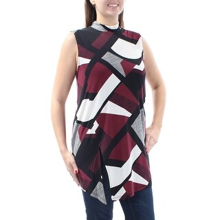 Womens Burgundy Geometric Sleeveless Turtle Neck Casual Top Size L