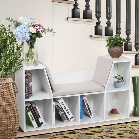 6-Cubby Kids Bedroom Storage Organizer White Cabinet Bookcase