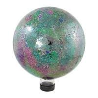 "10"" Green, Pink and Purple Mosaic Glass Outdoor Patio Garden Gazing Ball - Green"