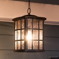 "Luxury Craftsman Outdoor Pendant Light, 15""H x 9.5""W, with Tudor Style, Highly-Detailed Design, Parisian Bronze Finish"
