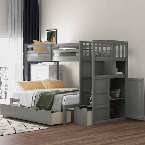 Twin Bunk Bed, Convertible Bottom Bed, Storage Shelves and Drawers