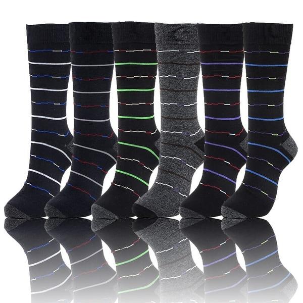 Mens Designer Dress Socks Size 10-13 Multi Line Stripes Print (Size 10-13)