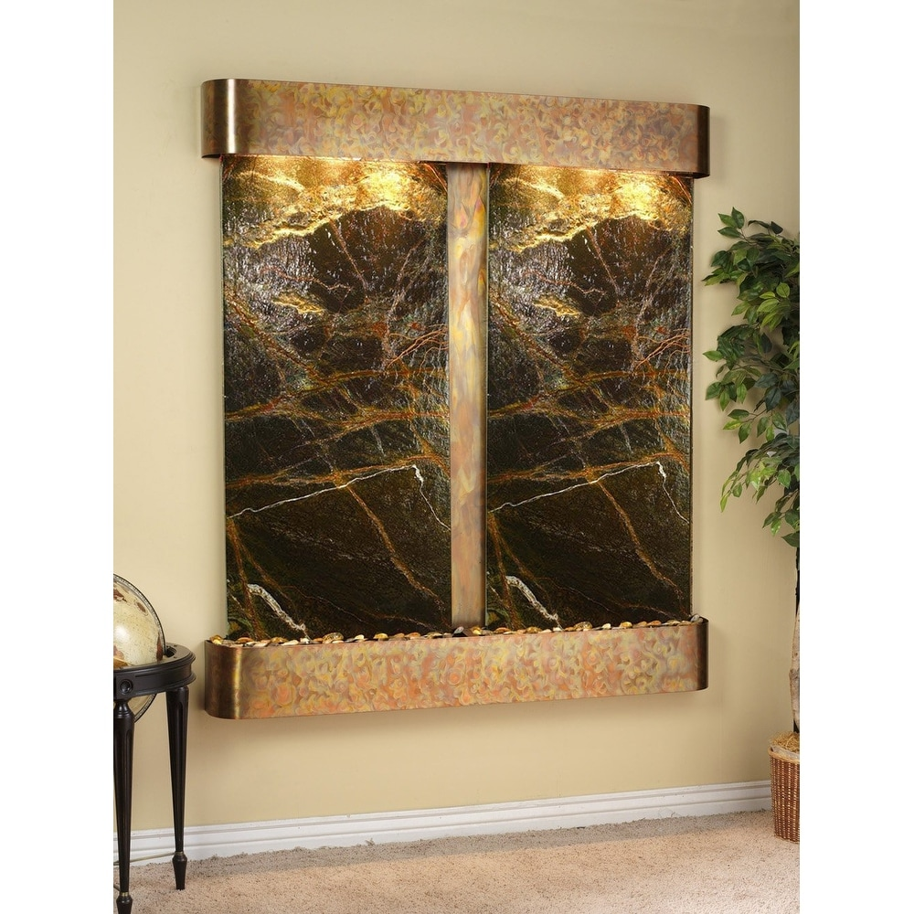Adagio Cottonwood Falls Fountain w/ Green Rainforest Marble in Rustic Copper Fin - Thumbnail 0