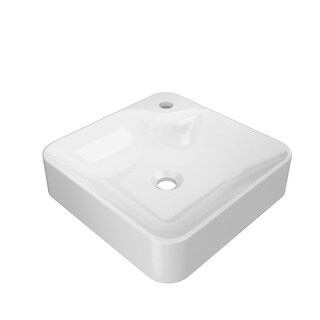 """Jacuzzi NEV1616 Nerina 15-3/4"""" Solid Surface Vessel Bathroom Sink with Single F - Gloss white"""