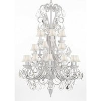 White Wrought Iron & Crystal Chandelier Lighting White Shades