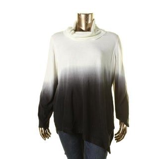 NY Collection Womens Plus Ombre Asymmetrical Pullover Sweater