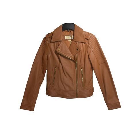 MICHAEL Michael Kors Luggage Leather Moto Jacket (M)